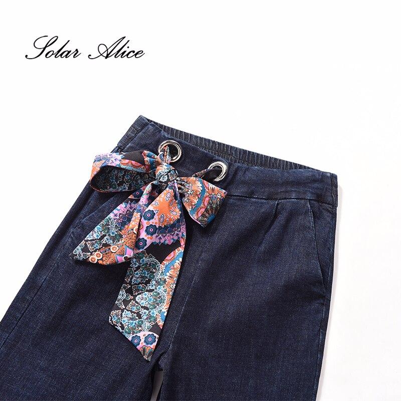 Pantalones Plus Bolsillos Gratis Mujeres Suelto Envío 2019 Vaqueros Tamaño Elástica De Alice Ancha Para Mujer Blue Fajas Solar Alta Pierna Encaje Cintura xPaF7Hwq