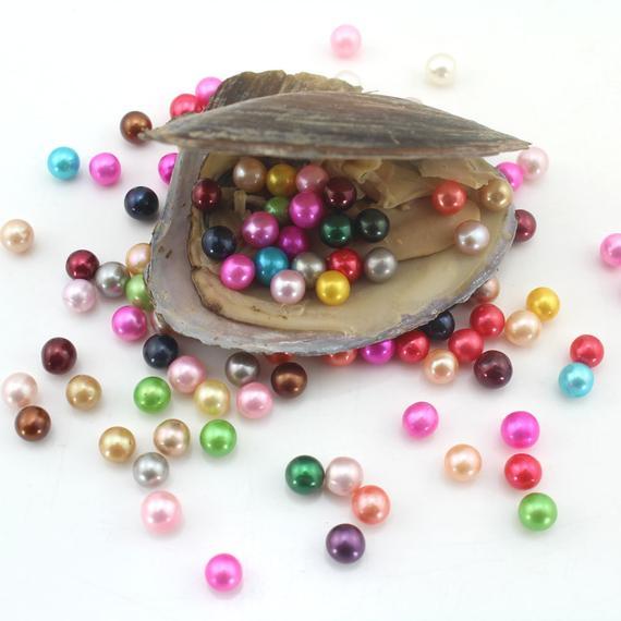 100 шт оптом одной жемчужницы пресной воды устрицы с AAA круглой жемчужиной внутри, смешанные 25 цветов жемчуга в пресной воды ABH898
