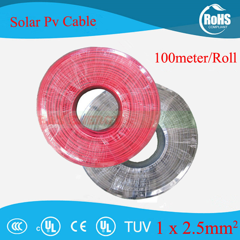 100m/roll 2.5mm sq (14 AWG) Photovoltaic Cable/ TUV cable for PV ...