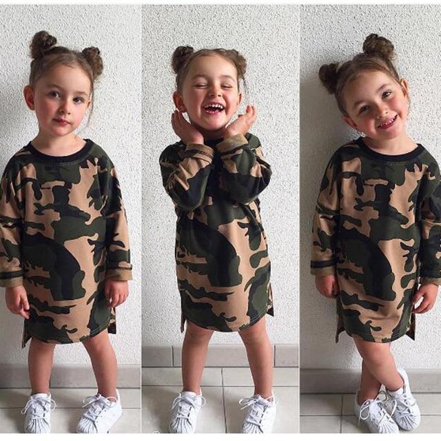 f6b851203fb06 2-6Y bébé filles Cool Camouflage robe d'été à manches longues coton  princesse