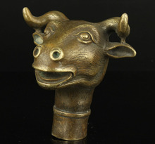100% bronze Pure Copper Brass Grandpa Good Lucky Collectible Old  Handwork Carving Bull Statue Cane Head Walking Stick