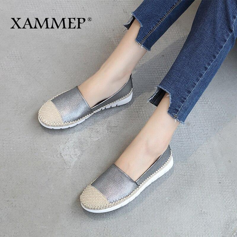 Automne Haute gray 42 Marque Rond Femme Doux Black Qualité Printemps Chaussures Xammep Peu Bout Casual Sneakers Appartements Pu Profonde Femmes 5aqOwH60x