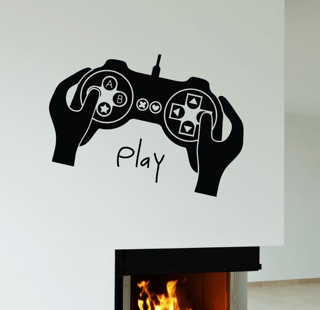 Boys Game Room Vinyl Wall Decal Joystick Video Game Gamer Play - Wall stickers for bedrooms teens
