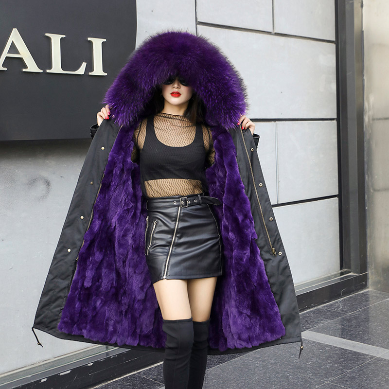 2019 inverno pele de raposa longo parkas mulheres rosa natural pele com capuz casaco coelho forro quente parkas senhoras - 4