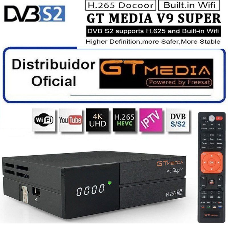 GTMedia V9 Super Satellite Receiver Bult in WiFi with 1 Year Spain Europe Cccam Full HD