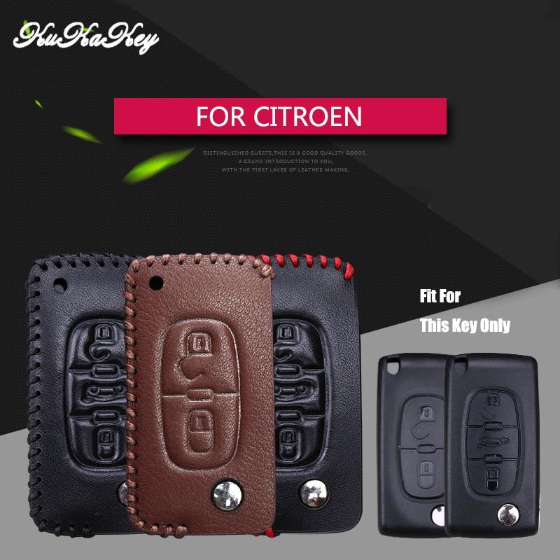 KUKAKEY Genuine Leather Flip Folding Car Key Case Cover For Citroen C1 C2 C3 C4 C5 C6 C-quatre 4S Shop Gift Key Holder Bag Shell