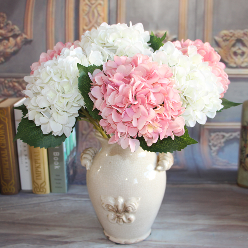 2 pcslot 1 bouquet pure white french hydrangea artificial silk flower arrangement room home - Silk Arrangements For Home Decor 2