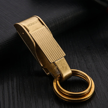 Pure Copper Key Chain Luxury Men Belt Hanging KeyChains Buckle Classic Vintage Ring Holder Waist Fathers Day Gift