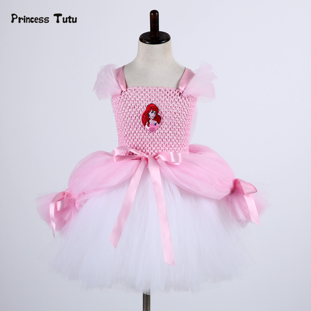 Fancy Girl Mermai Ariel Dress Pink Princess Tutu Dress Baby Girl Birthday Party Tulle Dresses Kids Cosplay Halloween Costume moeble 2017 baby witch costume halloween girl tutu dress kids fancy clothing for party handmade children tulle tutu dresses