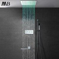 Современный осадков Насадки для душа красочные светодиодный Ванная комната набор для душа удаленного Управление светодиодный свет дождя 30