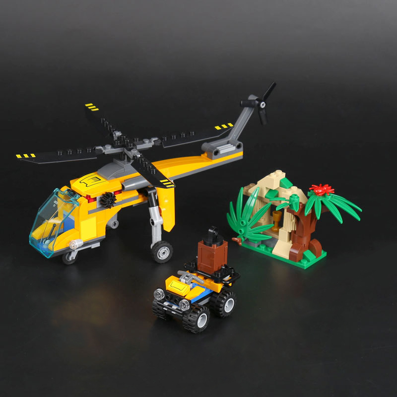 Lepin 60160 City Series Jungle Cargo Helicopter DIY Educational Building Blocks Bricks Toys Children Xmas Gift 02080 Legoingly lepin 02008 the cargo train 959pcs city series legoingly 60052 plate sets building nano blocks bricks toys for boy gift