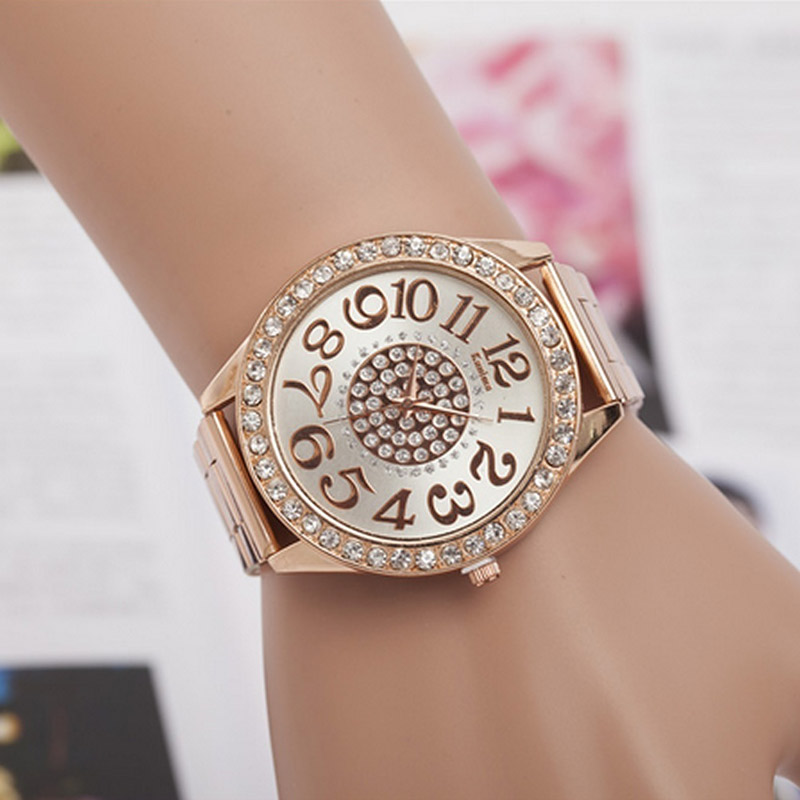 Fashion Women Stainless Steel Rhinestone Quartz Wrist Watch Round Dial Bracelet Watches LL fashion round crystal dial quartz bracelet watch for women purple silver 1 x lr626