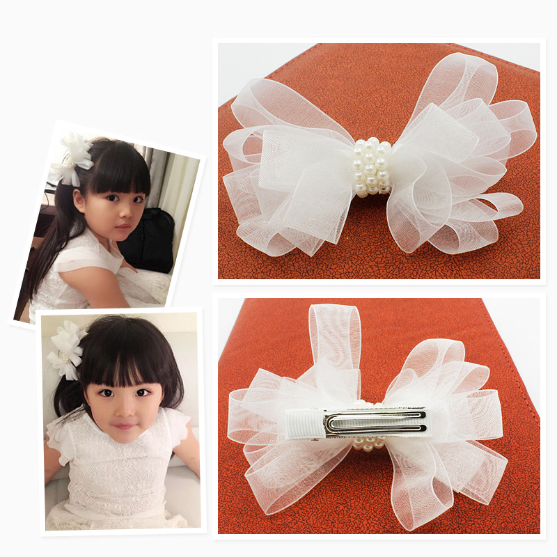 White Ribbon Pearl Hair Accessories Korea Princess Hair Clips Girls Flowers Hair Bows Ornaments Hairpin Kids Gift Headwear