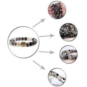 Image 5 - Classic Natural Stone Men Bracelet Matte Black Lava Volcanic Beads Charm Owl Strand Bracelets Women Prayer Jewelry