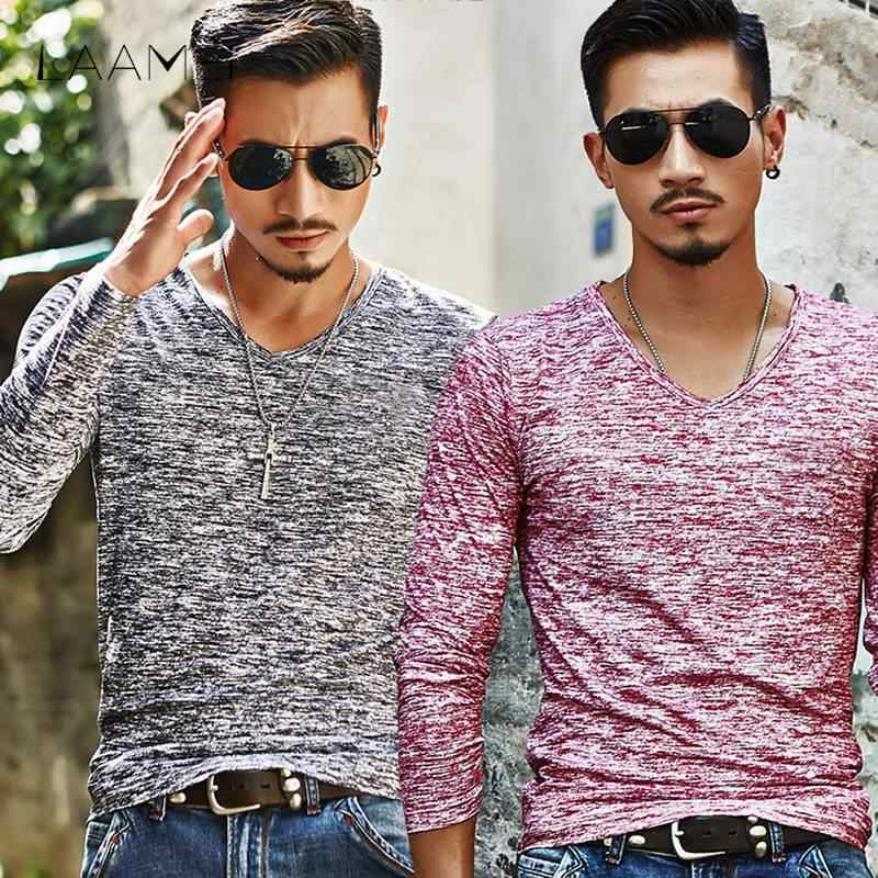 a836997b804 Laamei Summer Plain Tshirts Men Plus Size Men T-Shirts Long Sleeve Tee  Short Sleeve