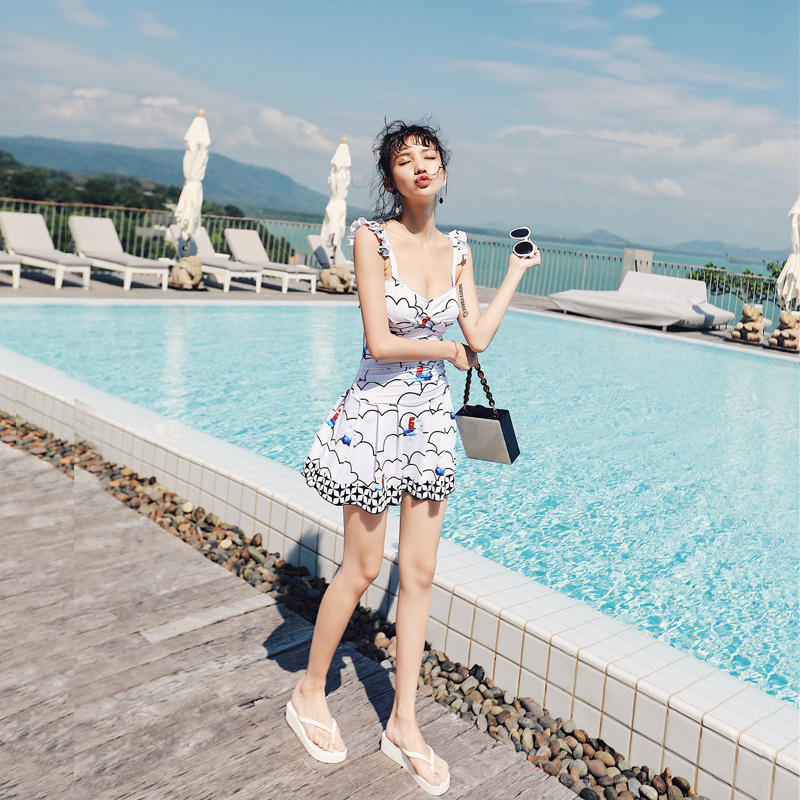 female Siamese skirt conservative cover belly thin sexy backless small chest gather spa swimming suit