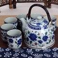 Китайский стиль Цзиндэчжэнь керамический чайник чайная чашка большой синий цветок фарфор-горшок фильтрованный набор чайных бутылок домаш...