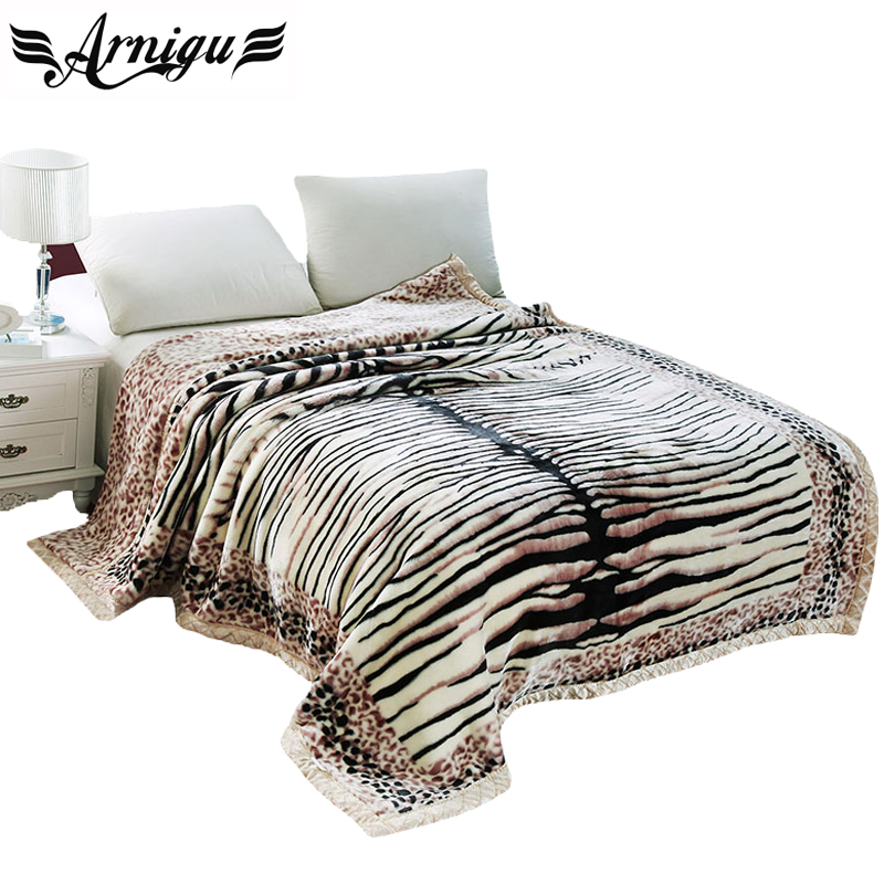 ФОТО Arnigu Tiger stripes print thick Blankets Twin Full Queen size double face thicken Raschel blanket warm Bed sheet winter Throws