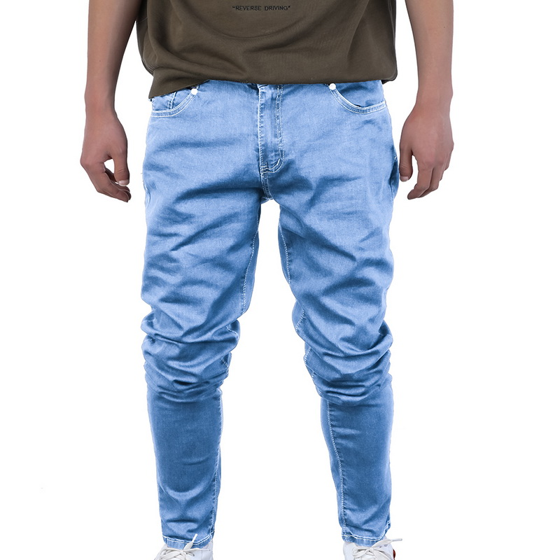 Oeak Men's Solid Color Jeans 2019 New Shinny Denim Pencil Pants Fashion Casual Straight Stretch  Trousers
