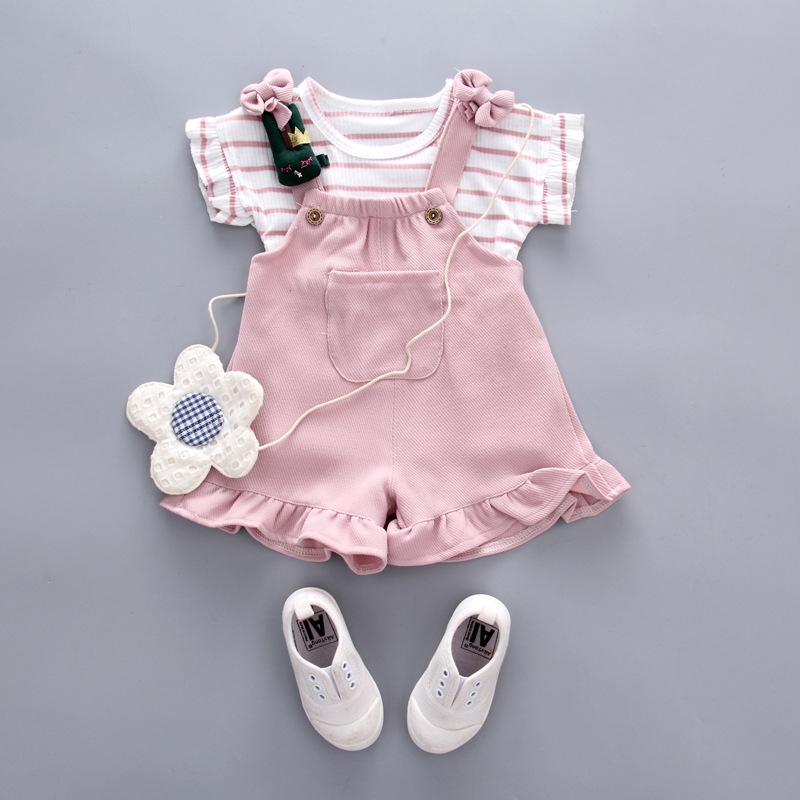 Summer Girl Set 2018 Girls Striped Short Sleeve T-shirt + Jumper Shorts Baby Clothing Set
