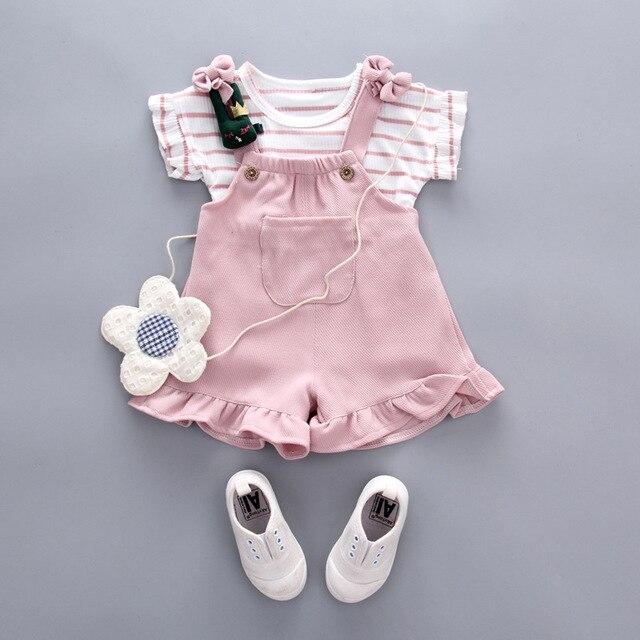 29e3f5f5b Summer Girl Set 2019 Girls Striped Short Sleeve T-shirt + Jumper Shorts Baby  Clothing Set