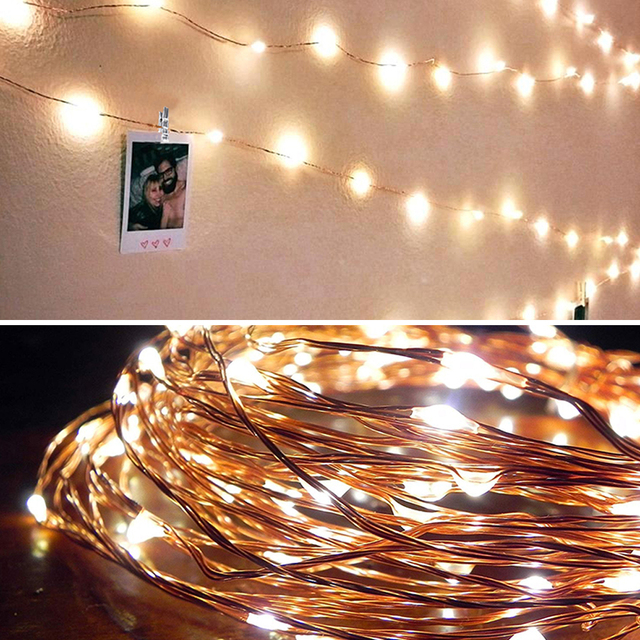 2m / 5m / 10m Photo Clip USB LED Cord Christmas Lights Outdoor Battery Operated Garland Christmas Party Decoration Christmas Wedding