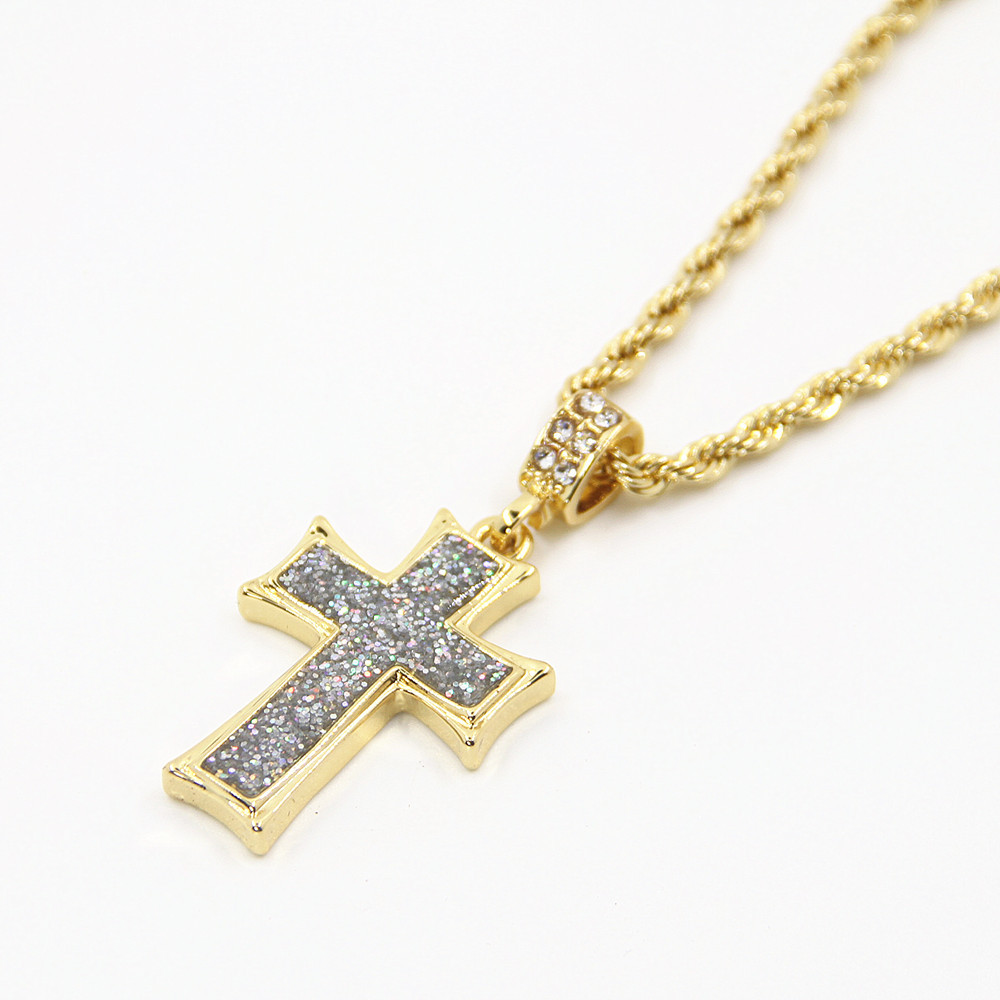 mens gold tone large crowned jesus iced out pendant with 24 rope