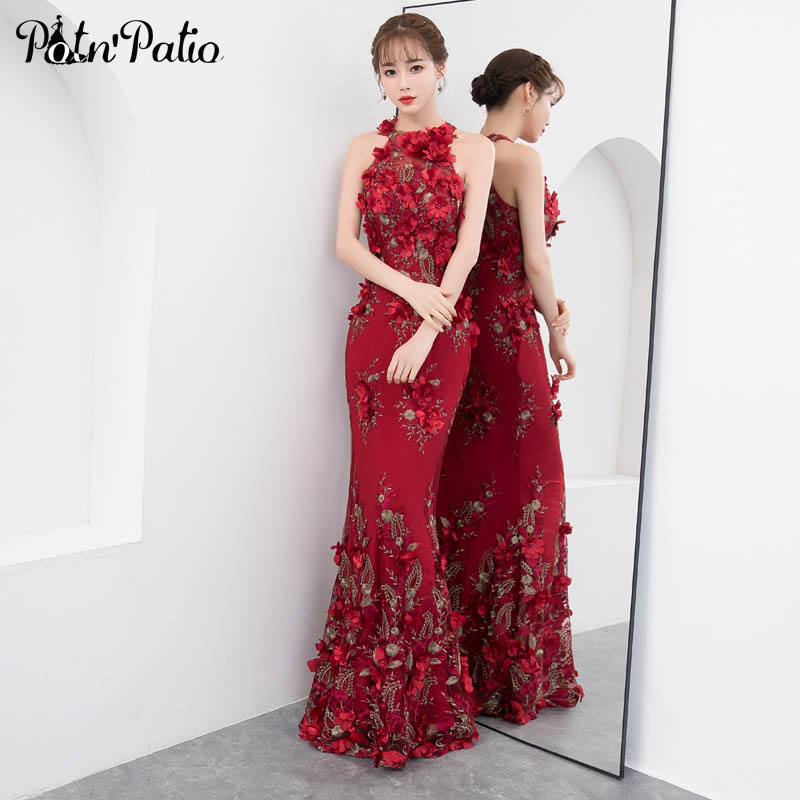 Luxury Burgundy Mermaid Prom Dresses Sexy Halter Sleeveless Flower Lace Prom Dresses Long 2019 Plus Size