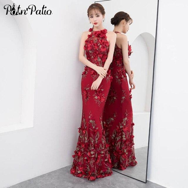 Luxury Burgundy Mermaid Prom Dresses Sexy Halter Sleeveless Flower Lace Prom Dresses Long 2019 Plus Size Elegant Gala Dress