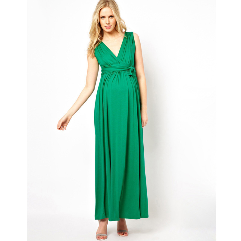 Deep V Maternity Maxi Dress for Pregnant Women Pregnancy Clothes Elegant Evening Gowns Pregnancy Prom Dress Red Green Vestidos женское платье women dress 2015 v vestidos vestidos