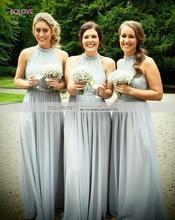 Saudi Arabia Halter A Line Bridesmaid Dress Elegant Appliques Chiffon Beach Bridesmaid Dress vestido de dama de honor (SL-B58)