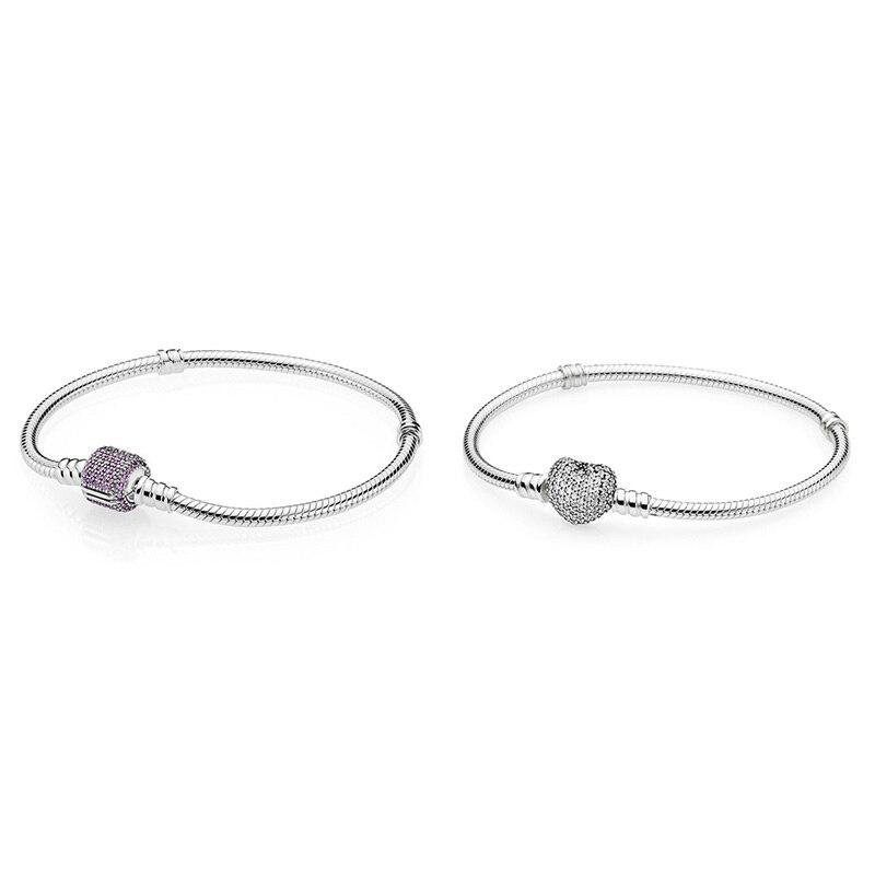 925 argent Sterling blanc amour coeur boucle ronde serpent chaîne de base bracelets pour femme bricolage bijoux à breloques