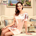 New classic lady nightgown summer printed retro comfortable contracted household sleepshirt nightwear home Bathrobe