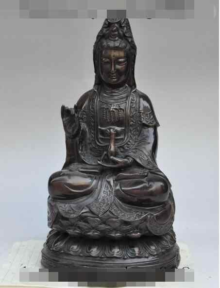 """S5292 12 """"tibet budismo fane bronze lotus kwan yin-GuanYin Bodhisattva estátua de buda"""