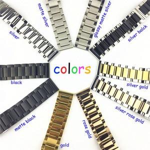Image 4 - Opaco lucido di Colore Doppio In acciaio inox watch band Farfalla Fibbia Chiusura Sostituzione del Cinturino di Vigilanza 16 18 20 21 millimetri 22 23 24 26 millimetri