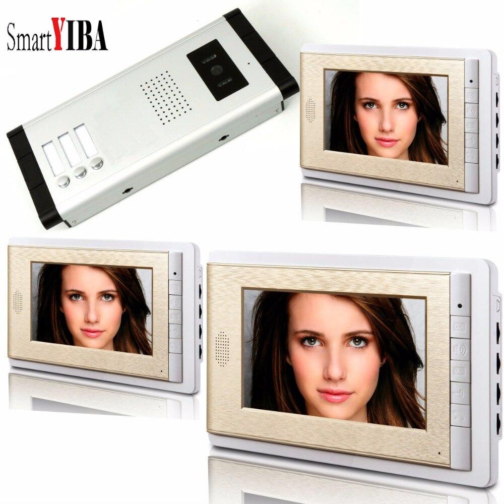 SmartYIBA Video Intercom 7''Inch LCD Wired Video Door Phone Doorbell Speakerphone Intercom Camera Monitor System For 3 Units