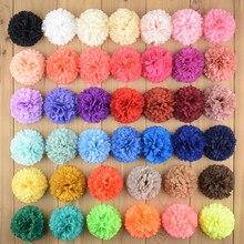 цены 40pcs/lot 40colors Beautiful Chiffon Fabric Flowers Flat Back Baby Girls DIY Garments Hair Decorative Accessories