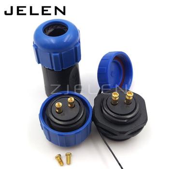 SP21 bez potrzeby spawania wodoodporne gniazdo z wtykiem 2-pin złącze kabla zasilającego mocowanie panelu 21mm IP68 złącza LED tanie i dobre opinie SZJELEN SP2110 P2-SP2113 S2