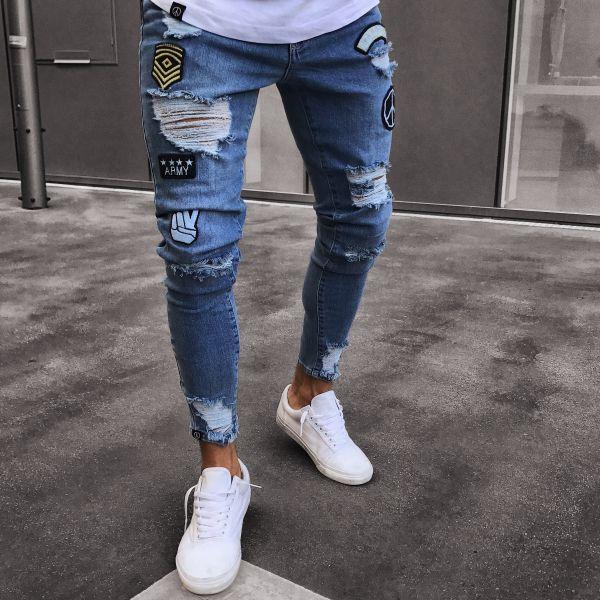 2018 Men Hip Hop Jeans Mens Hole Embroidered Jeans Slim Fashion Denim Joggers Mens Pants Moletom Masculino Plus Size S~4XL