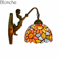 Tiffany Wall Lamp Mediterranean Stained Glass Mermaid Wall Sconce Led Mirror Light for Bedroom Bathroom Home Fixtures Decor E27