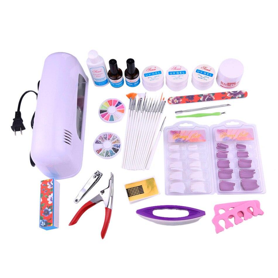 ФОТО 21 pcs/set Nail Tools Set Kit Combination:Therapy Machine+False Nails+Extended Gel+Painting Pens+Toe Seperator+Nail Clipper