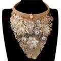 Мода Металла Золота Slice Заявление Ожерелья и Кулоны 2015 Индийский Шикарный Стиль Ювелирные Изделия Женщины Шеи Биб Воротник Чокеры Ожерелья