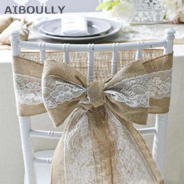 15*275cm Wedding Vintage Natural Brulap Lace Jute Chair Sash Bow For Chair Cover Banquet Wedding centerpiece Party Decor Supply