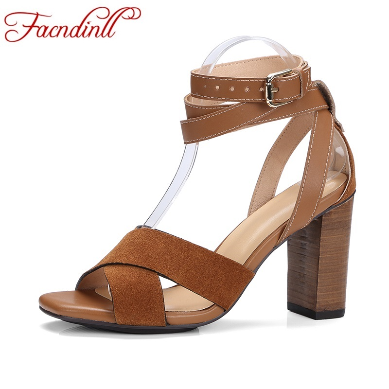 FACNDINLL new summer peep toe sandals square high heel sandals genuine leather shoes woman black party dress shoes size 34-39 facndinll new genuine leather summer