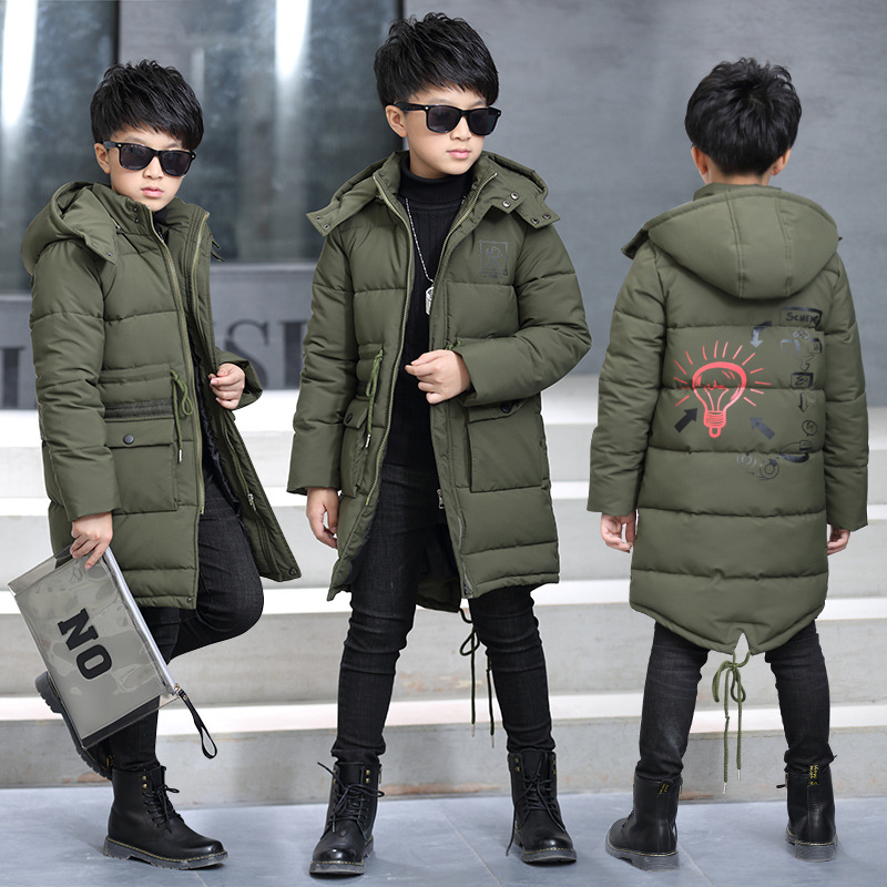Winter New Kids Boys Down Jacket Thicken Warm Children Parka Coat 5 Printed Hooded Outerwear Cotton-padded Clothing for Teenager children winter coats jacket baby boys warm outerwear thickening outdoors kids snow proof coat parkas cotton padded clothes