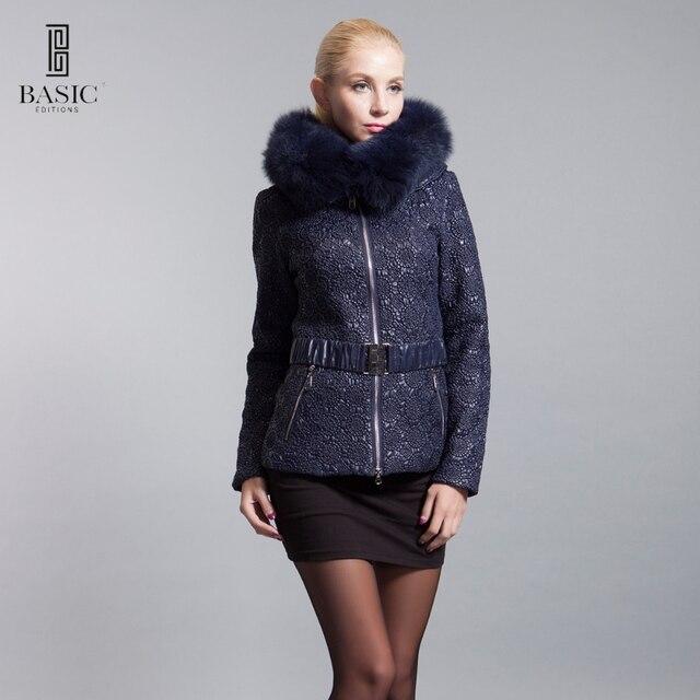 BASIC-EDITIONS 2016 Новых Зимней Моды женская Одежда Негабаритных Лисицы Короткая Куртка С Капюшоном Парки Пальто Женщин Пальто 14W-22D