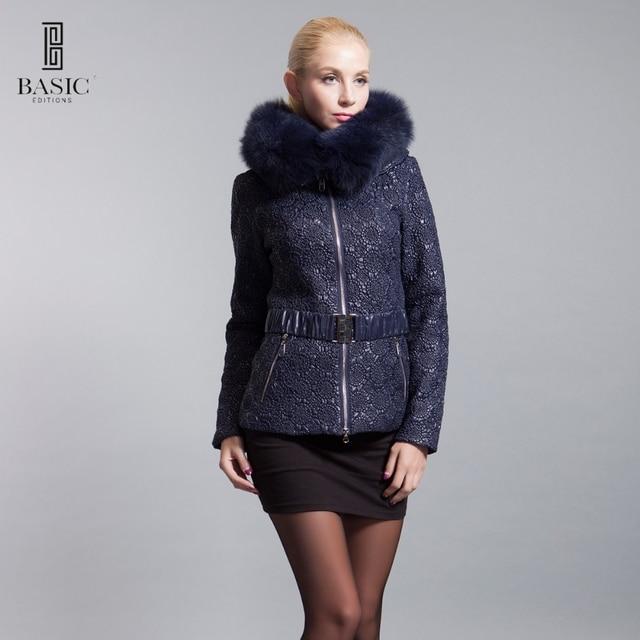 BASIC-EDITIONS 2016 Inverno Nova Moda das Mulheres Roupas Oversized Fox Fur Parka Com Capuz Casacos Parkas Mulheres Casaco Curto 14W-22D
