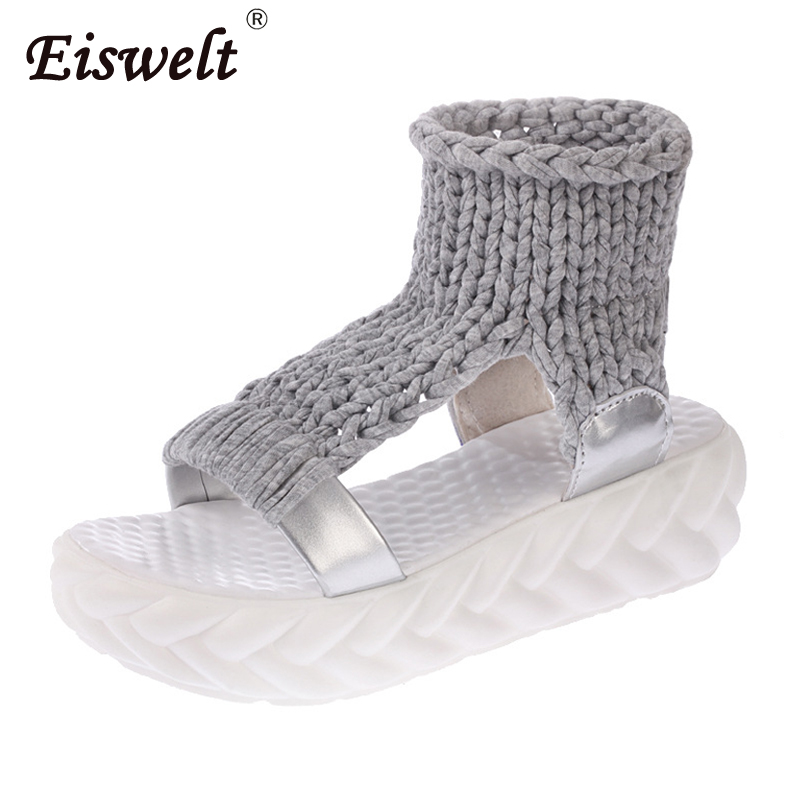 Eiswelt Spring Female Shoes Women Casual Sandals Summer Thick-bottomed Knitting Shoes Sandal Gladiator Bottom Rome Women SandalsEiswelt Spring Female Shoes Women Casual Sandals Summer Thick-bottomed Knitting Shoes Sandal Gladiator Bottom Rome Women Sandals