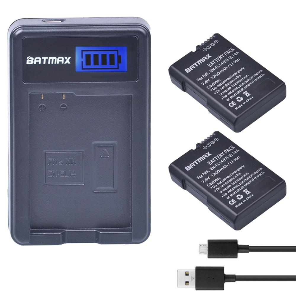 2x Bateria EN-EL14 EN-EL14a ENEL14 EN EL14 EL14a Batterie + LCD Usb-ladegerät für Nikon D3100 D3200 D3300 D5100 D5200 D5300 P7000