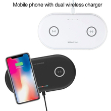 Dual 2 in 1 Qi Wireless Charger base For iPhone 8 10 X xs max Fast Wireless Charging pad For Samsung Galaxy S8 S9 Plus Note 9 8